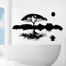 compare prices on wall murals removable trees online shopping buy nature tree moon water silhouette wall art stickers decal home diy decoration wall mural removable bedroom
