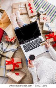 Christmas Decorations Online Order by Christmas Online Shopping Top View Female Imagen De Archivo Stock