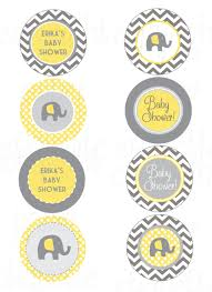 elephant yellow and gray chevron baby shower print your own by