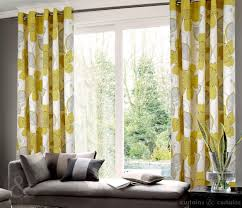Blue And Yellow Curtains Prints Living Room Living Room Interior Traditional Living Room Decor