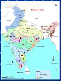 Outline Map Of India by Rivers And Lakes Jpg