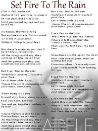 printable lyrics adele set fire to the rain lyrics sheet free printable music