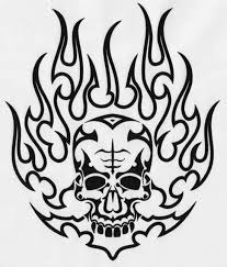 outline demon skull in the flame tattoo design tattooimages biz