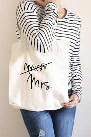 newlywed gift to be custom tote bag miss to mrs newlywed gift for
