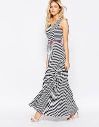 oasis asis stripe maxi dress in black lyst