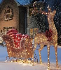 Santa Sleigh Reindeer Outdoor Yard Led Prelit Christmas Decoration