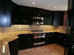 Black Cupboards Kitchen Ideas Espresso Cabinets With A Fun Subway Tile Backsplash Kitchen