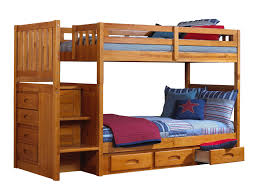 light brown wooden queen bunk bed with drawers and stairs also light brown wooden queen bunk bed