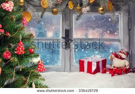 christmas tree living room interior spruce stock vector 683457616