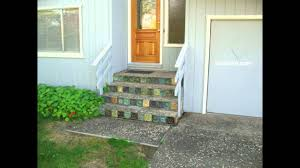 Can You Tile Over Concrete Patio by Concrete Stairs Using Decorative Rock With Interesting Ceramic