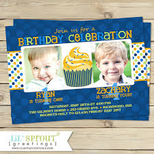 joint boy birthday invitations brother twin birthday party