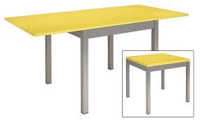 tables de cuisine table de cuisine metal et bois jaune