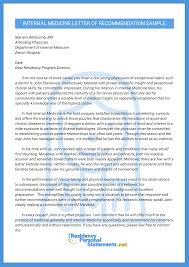 Letter Of Contribution Sample Letter Of Recommendation For Internal Medicine Residency