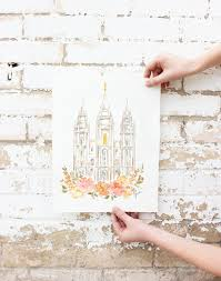 blush flowers slc temple watercolor print salt lake city utah