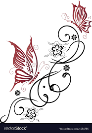 tribal flower butterfly style royalty free vector
