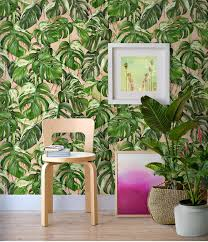 monstera palm leaf wallpaper exotic removable wall paper zoom