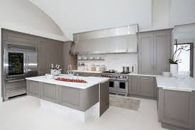 Grey Stained Kitchen Cabinets White Metal Chrome Over Range - Stainless steel cabinet door frames