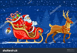 christmas santa claus moving on sledge stock vector 42508219