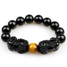 color charm bracelet images Natural obsidian with tiger eye beads bracelet gold color charm jpg
