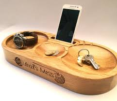 wood gifts for him personalised oak phone stand and charging station