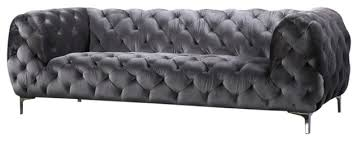 Grey Velvet Sofa by Parent Contemporary Sofas By Meridian Furniture
