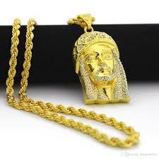 jesus hip hop necklace images Wholesale 18k gold plated jesus christ piece head face hip hop jpg