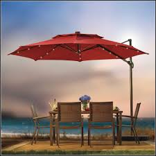 Red Solar Lights by 11 Foot Patio Umbrella With Solar Lights Patios Home