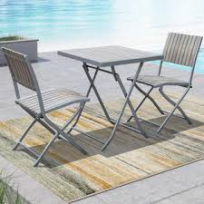 Grey Bistro Table Corliving Gallant 3pc Sun Bleached Grey Outdoor Folding Bistro Set