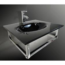 Wall Mount Vanity Sink Kokols Black Glass Wall Mount Vanity Sink Combo Wf 31b Kokols Inc