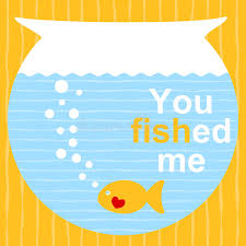 fish valentines fish on a bowl valentines day card stock illustration
