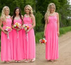 country pink lace long chiffon bridesmaid dresses 2016 floor