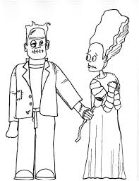 halloween cartoon drawings bride of frankenstein coloring pages getcoloringpages com