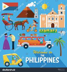 philippines jeepney vector illustration philippiness landmarks icons stock vector 453346672