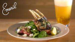 Rack Of Lamb On Grill Grilled Rack Of Lamb With Mixed Herb Pesto Emeril Lagasse Youtube