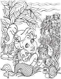 happy little mermaid with rainbow fish and star fish coloring page