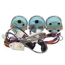 teleflex silver illuminated 3 piece boat gauge set w wiring