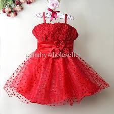 new children princess tutu dresses red formal flower kids
