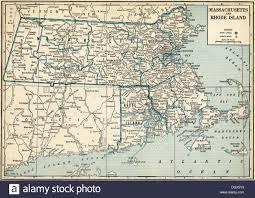 Massachusetts Map Old Map Of Massachusetts And Rhode Island States 1930 U0027s Stock