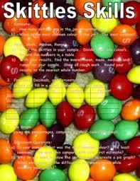 skittle skills free math activity to apply fractions decimals