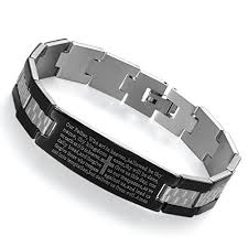 black prayer bracelet images Flongo men 39 s vintage stainless steel black cross english bible jpg