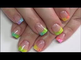 rainbow french tip gel polish nail design revamp classic white