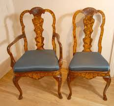 eight english queen anne marquetry inlay dining chairs