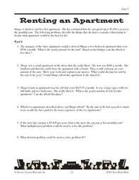renting an apartment math word problems worksheet math