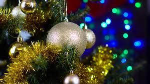blue christmas balls on christmas tree new year decoration stock