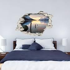 stickers trompe oeil mural sticker trompe l u0027œil paysage paradisiaque lac et montagnes