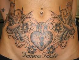 tattoo placement on stomach femme fatale black and grey lower stomach belly tattoo placement