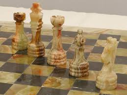 beautiful light and black marble chess set with superb heavy