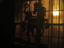 headless horseman halloween window silhouette chica and jo