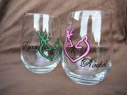 deer logo personalized painted stemless wine glass set the