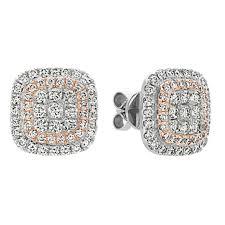 diamond cluster earrings diamond cluster earrings in 14k white and gold shane co